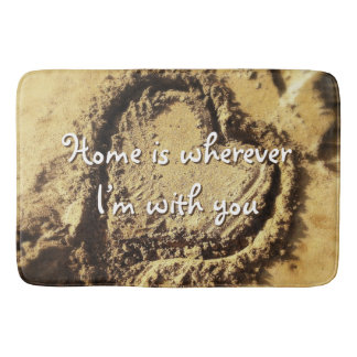 """""""Home is Wherever"""" Quote Heart Drawn in Sand Photo Bath Mat"""