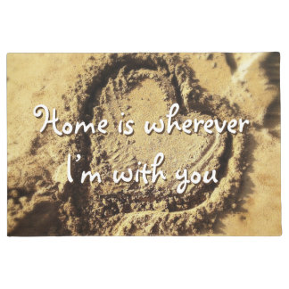 """""""Home is Wherever"""" Quote Heart Drawn in Sand Photo Doormat"""