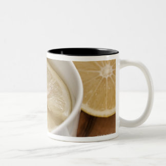 home made cold and flu remedy; lemons and honey Two-Tone coffee mug