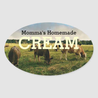 Home made Cream Oval Sticker