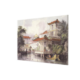 Home of a Chinese Merchant near Canton, from 'Chin Stretched Canvas Prints