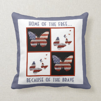 Home of the Free: American Flag Butterflies (rw&b) Throw Pillow