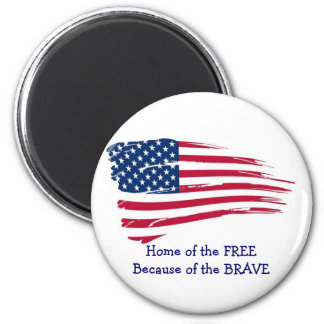 Home of the Free Wavy Flag 2 Inch Round Magnet