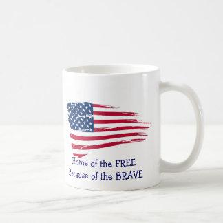 Home of the Free Wavy Flag Coffee Mug
