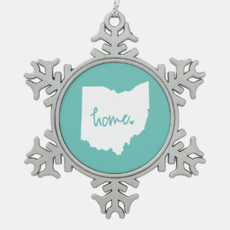 Home Ohio Custom Colour Snowflake Pewter Christmas Ornament