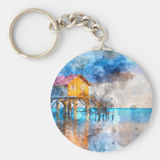 Home on the Ocean in Ambergris Caye Belize_ Basic Round Button Keychain