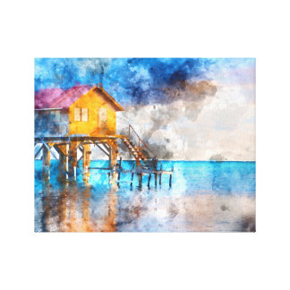 Home on the Ocean in Ambergris Caye Belize Canvas Print