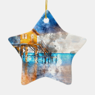 Home on the Ocean in Ambergris Caye Belize_ Ceramic Star Ornament