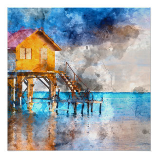 Home on the Ocean in Ambergris Caye Belize_ Perfect Poster