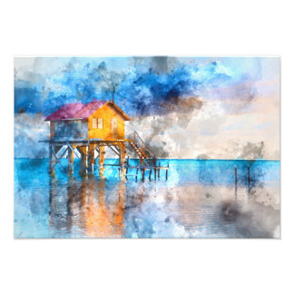 Home on the Ocean in Ambergris Caye Belize_ Photo Print