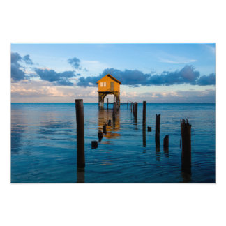 Home on the Ocean in Ambergris Caye Belize Photo Print