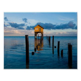Home on the Ocean in Ambergris Caye Belize Poster
