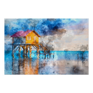Home on the Ocean in Ambergris Caye Belize_ Poster
