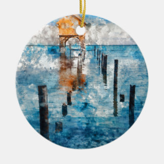 Home on the Ocean in Ambergris Caye Belize Round Ceramic Ornament