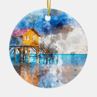 Home on the Ocean in Ambergris Caye Belize_ Round Ceramic Ornament