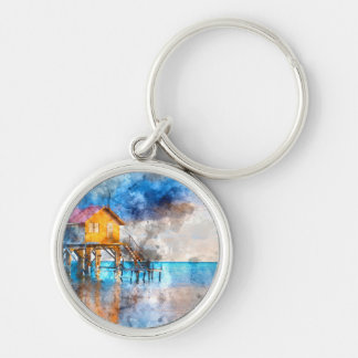 Home on the Ocean in Ambergris Caye Belize_ Silver-Colored Round Keychain