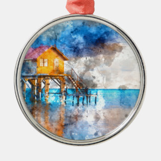 Home on the Ocean in Ambergris Caye Belize_ Silver-Colored Round Ornament