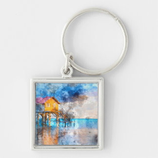 Home on the Ocean in Ambergris Caye Belize_ Silver-Colored Square Keychain