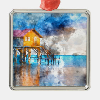 Home on the Ocean in Ambergris Caye Belize_ Silver-Colored Square Ornament