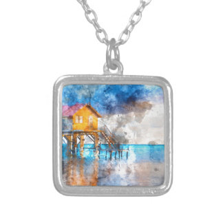 Home on the Ocean in Ambergris Caye Belize_ Silver Plated Necklace