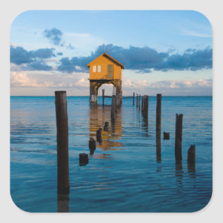 Home on the Ocean in Ambergris Caye Belize Square Sticker
