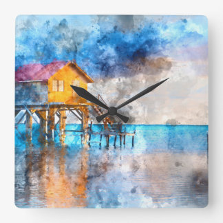Home on the Ocean in Ambergris Caye Belize Square Wall Clock