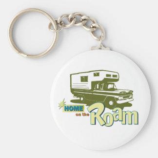 Home on the Roam retro pickup camper truck RV Basic Round Button Keychain