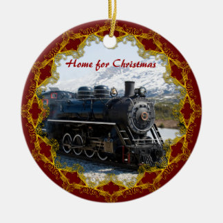 Home on the Train for Christmas Ornament