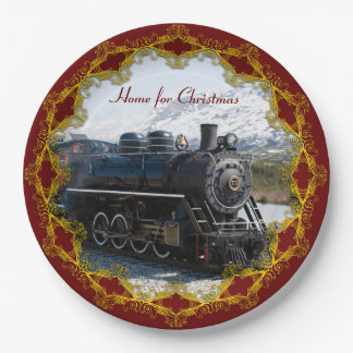 Home on the Train for Christmas Paper Plate