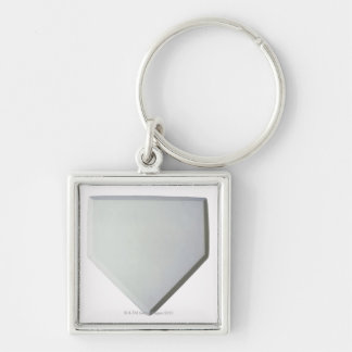 Home plate Silver-Colored square keychain