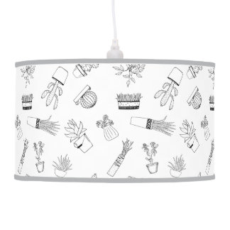 Home Potted Plants Doodle Art Pendant Lamp