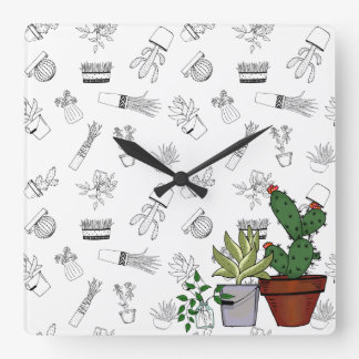 Home Potted Plants Doodle Art Square Wall Clock