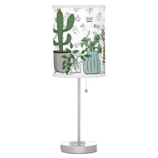Home Potted Plants Doodle Art Table Lamp
