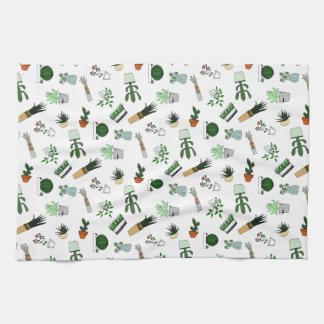 Home Potted Succulent Cactus Plants Doodle Art Kitchen Towel