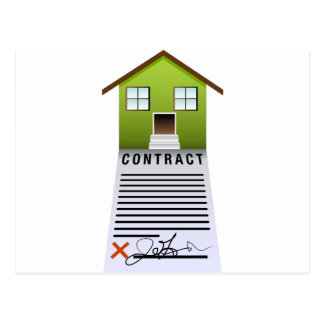 Home Property Real Estate Contract Icon Postcard