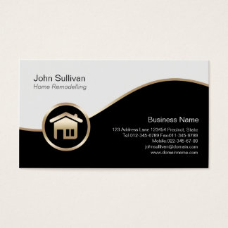Home Remodelling Business Card Gold House Icon