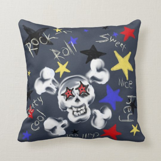 Home - Rock'n'Roll Skull Throw Pillow