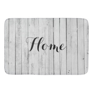 Home Rustic Home Black and White Wood Panel Farm Bath Mat