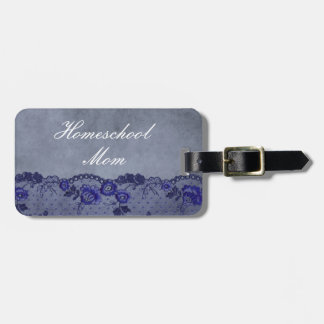 Home school Mom Blue Faux Lace Luggage Tag