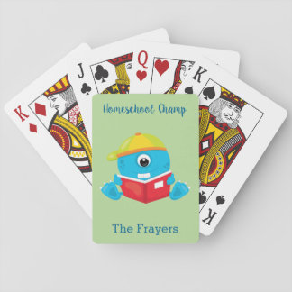 Home school theme blue monster playing cards
