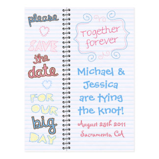 Home Sketch Save the Date Notebook Postcard