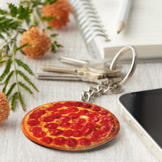 Home Slice Pepperoni Pizza Keychain