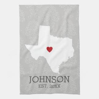 Home State Map Art - Custom Name Texas Kitchen Towel