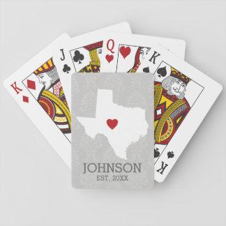 Home State Map Art - Custom Name Texas Poker Deck