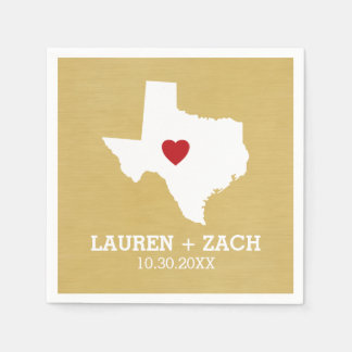 Home State Map Art - Custom Wedding Texas Paper Napkins