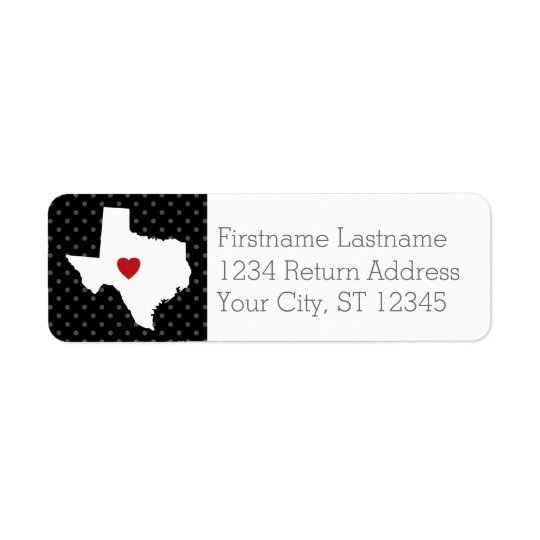 Home State Map Art - Custom Wedding Texas Return Address Label