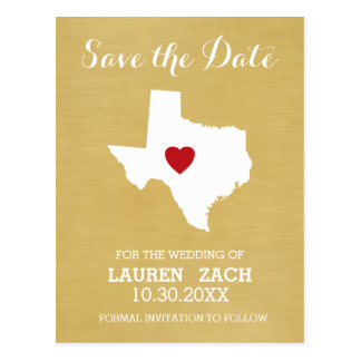Home State Wedding Save the Date Texas Postcard