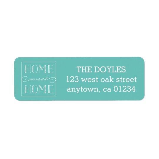 Home Sweet Home Aqua | Return Address Labels