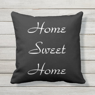 Home Sweet Home Black and White Outdoor Pillow
