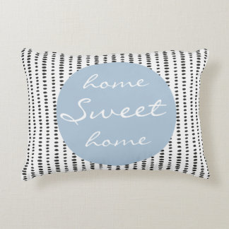 Home sweet home Black & White & Blue Accent Pillow